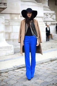 cobalt pants and a floppy hat (never sure if I could pull one off).