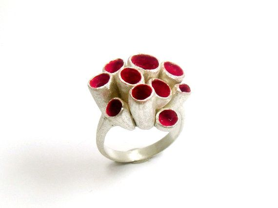 Red Coral Ring by SusanaTeixeiraJewels on Etsy, $92.00