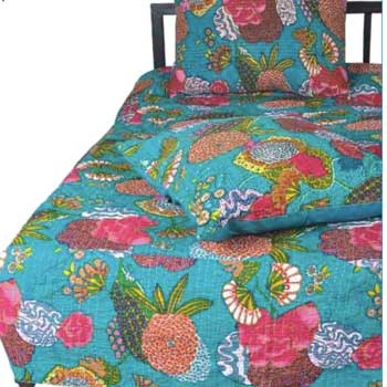 Turquoise Floral Quilt And Shams Set