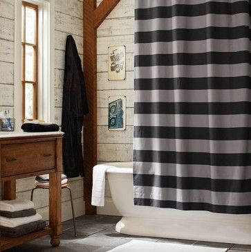 Rugby Stripe Shower Curtain - eclectic - Shower Curtains - PBteen like the scale...better for our little bath... need in blue