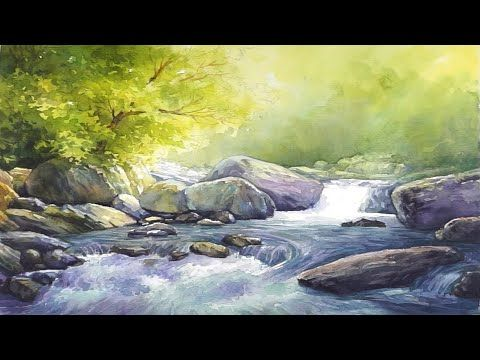 Watercolor Landscape Painting Waterfall Forest In 2020 Watercolor Landscape Watercolor Landscape Paintings Waterfall Paintings