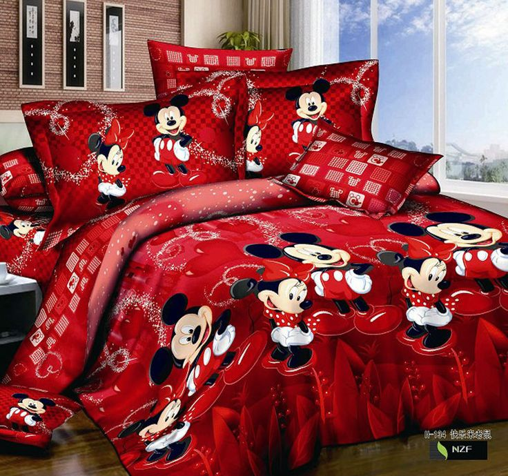 Mickey& Minnie mouse reactive jet printed 4pc bedding set kids/child Bedsheet cotton king queen Duvet/quilt cover Bed linen sets-in Bedding Sets from Home & Garden on Aliexpress.com