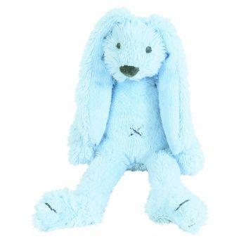 Blauw pluche konijn knuffel Richie. Pluche konijn van het merk Happy Horse. Het blauwe konijntje is ongeveer 28 cm lang. Wasmachine bestendig op 30 graden.