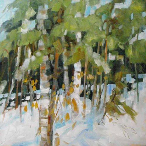 "Sheila Davis, This A Way, oil on panel, 16""x16"". $450"