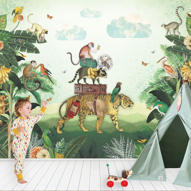 Kinderbehang #Jungle #kidswallpaper | Pimpelmees über Kinderkamerstylis …