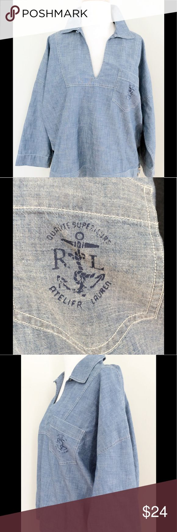 Ralph Lauren large women's nautical Jean shirt Ralph Lauren large women's nautical Jean shirt rope tie sides 100% Cotton measurements: 26 Pit to Pit, Length 22.5 inches Lauren Ralph Lauren Tops