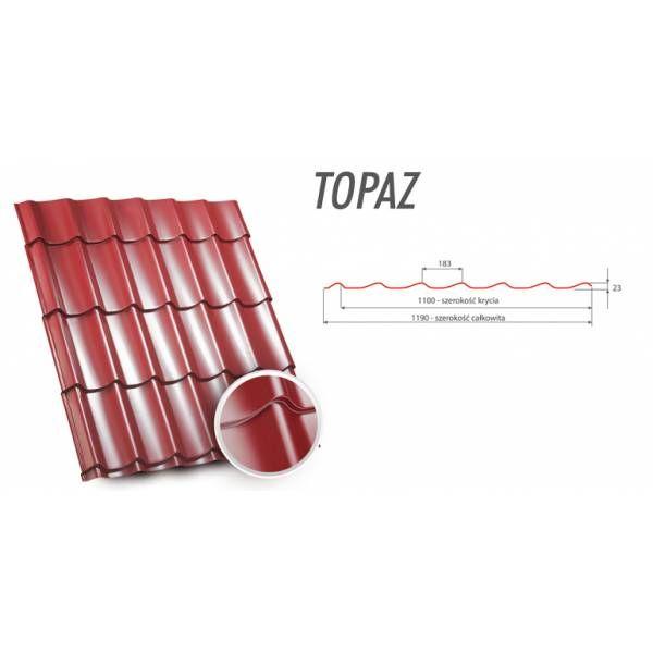 Германская металлочерепица TOPAZ (Топаз) производится с полимерного листа толщиной 0.5мм, и покровом цинка, который колеблется в границах 230-270 гр на один квадратный метр. Это дозволяет причислить металлочерепицу TOPAZ к премиум классу, так как плотность цинкового покрова выше 225 г/м2 является уже очень хорошей, способной на многие годы сберечь металл от коррозии.