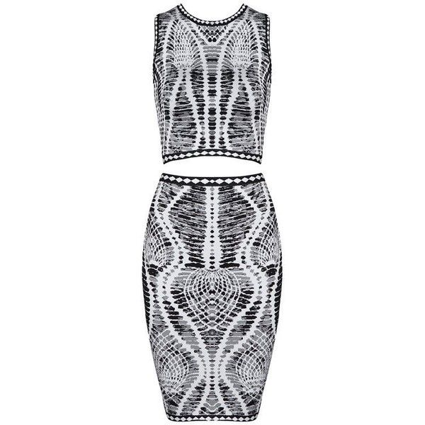 Two Piece Round Neck Jacquard Bandage Dress (130 AUD) ❤ liked on Polyvore featuring dresses, 2 piece formal dresses, two piece formal dresses, 2 piece bodycon dress, 2 piece bandage dress and short formal dresses
