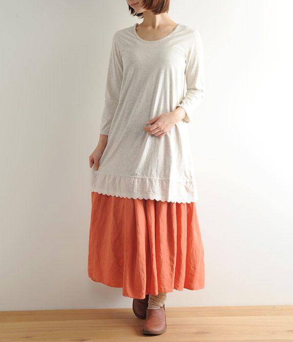 七分袖チュニック裾レースカットソー(B・オートミール)