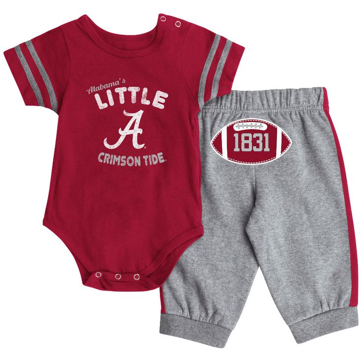 This spirit filled Alabama's Little Crimson Tide short sleeved creeper and pants outfit will keep your little sport comfortable and looking sharp all day long! The 100% cotton creeper features a screen printed team logo with Alabama's Little Crimson Tide printed on the front, stripes across the shoulders, and snap closures at the leg for quick and easy changes. The pants feature side stripes, an embroidered football with the schools founding date featured on the backside, and a comfortable…