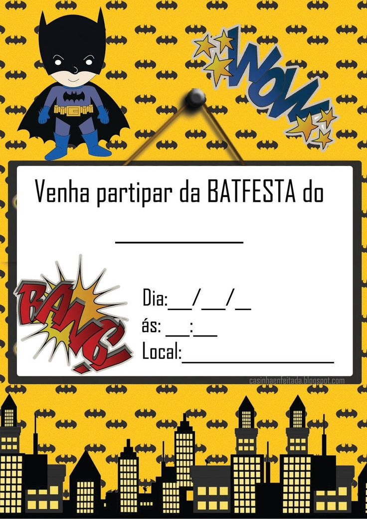convite aniversario batman para imprimir grátis