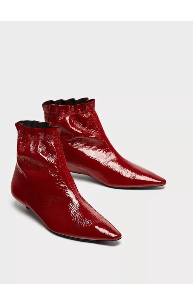 e9d7e80ff42 Zara Dark Red Burgundy Patent Leather Ankle Boots UK 5 Eur 38 US 7.5 RRP  69.95Eu | Clothing, Shoes & Accessories, Women's Shoes, Boots | eBay!