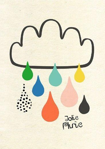 Colorful Rain Illustration by Sophie Ledesma on Virginie, rain, colorful rain, rainy day, rainy day illustration, illustration, spring, spring art
