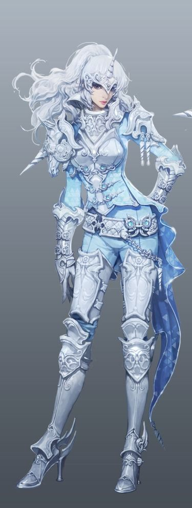(Aion) Unicorn Warrior | Steel armour | Female fighter | woman, lady, girl | White knight | Fantasy RPG character design