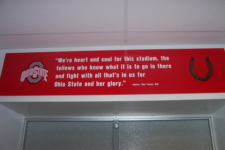The sign above the door in the locker room that leads out to the field