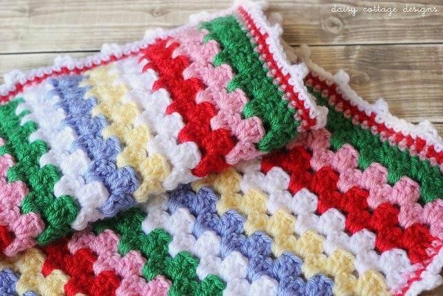 Granny stripe blankets are among my favorite to make. They're ridiculously easy, beautiful, and the color combinations are endless. I follow the general tutorial on the Attic 24 website. The tutorial is written in UK crochet terms, but a quick google search will teach you the differences. I'll show you exactly how I did mine …
