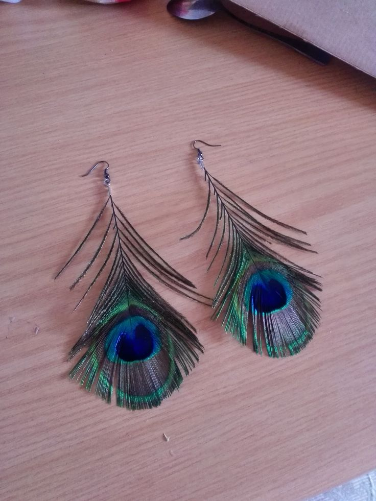Peacock feather earrings. Around 12 cm in length.