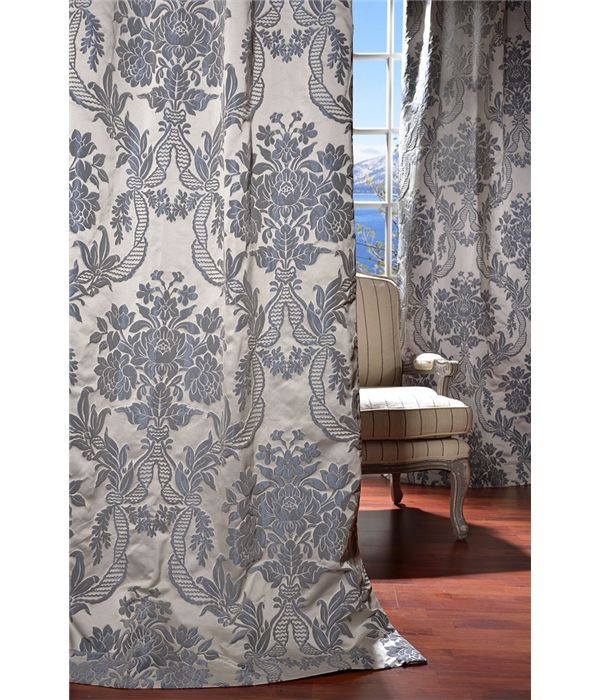 Magdelena Silver Blue French Pleat Faux Silk Jacquard Curtain On Discounted Prices With Coupon