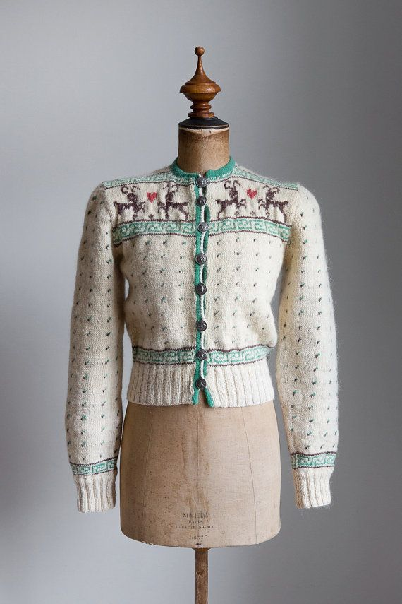 ☾ Vintage 1940s Hand Knitted Cardigan ☽ Hard to find thick hand knitted Nordic cardigan with so many cute details! This would be the perfect