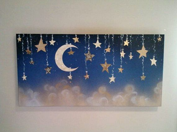 Hey, I found this really awesome Etsy listing at https://www.etsy.com/listing/159499259/starry-night-with-hanging-stars-and-moon