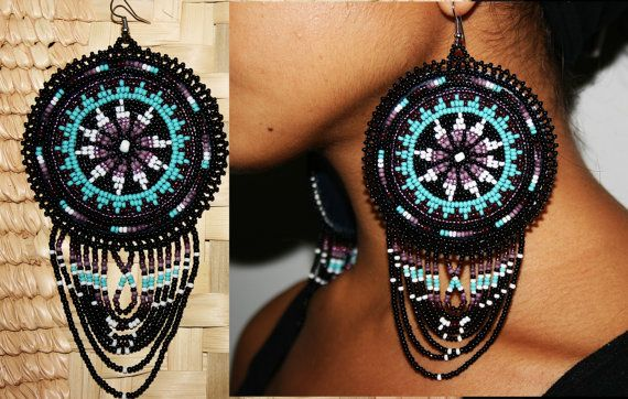 Beaded Morning Star Earrings Leather by BiuluArtisanBoutique