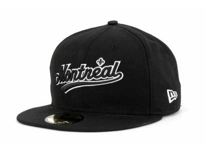 Montreal Expos New Era 59Fifty MLB Black and White Fashion Hats