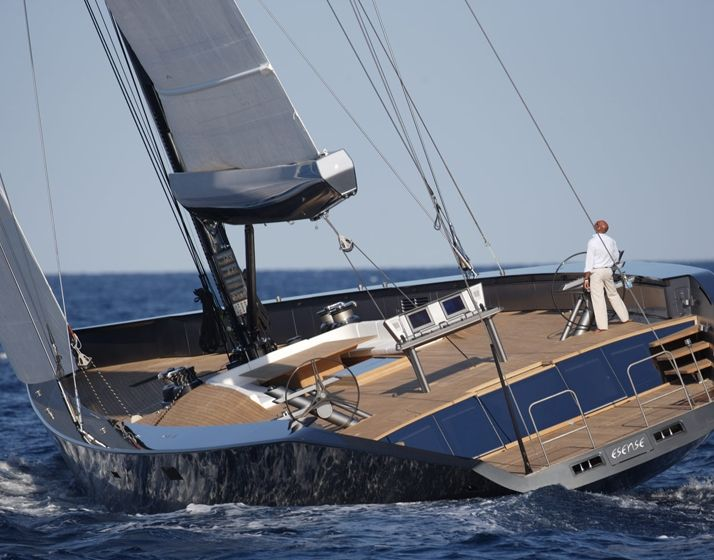 Wally // Esense Year // 2006  Length overall // 43.70 m  Draught // 4,20 / 6,20 m (lifting keel)  Displacement // 140 tonnes  Sail area // 836 sqm  Accommodation // 8 guests + 6 crew  Saloon // Table and seats for 10-12  Naval architecture // Tripp Design Naval Architecture  Exterior design // Wally / Luca Bassani  Interior design // Odile Decq  Construction // WallyEurope, Italy  Certification // MCA  Mast and boom // Hall Spars  Rigging // Navtec  Engine // Caterpillar 550 hp