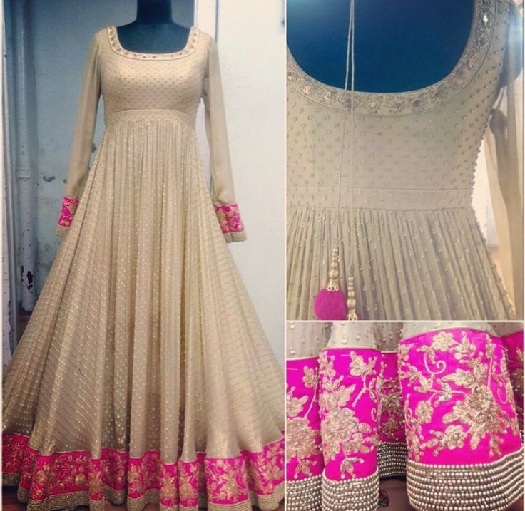 Pretty! White designer anarkali with pink border. #designeranarkali #whiteanarkali #anarkali