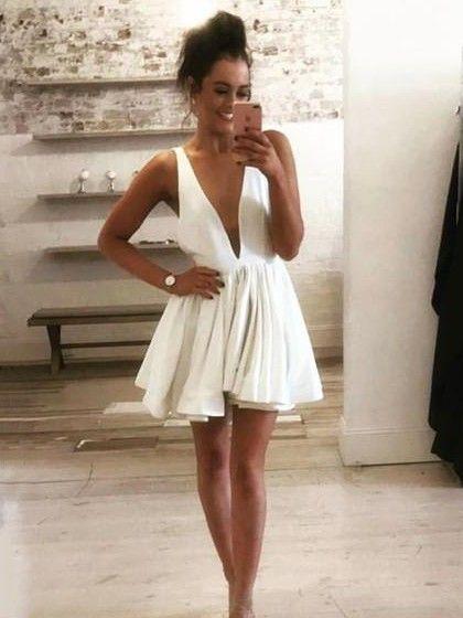 057e62b60d9 A-line V-neck Silk-like Satin Short Mini Prom Dresses  89.99