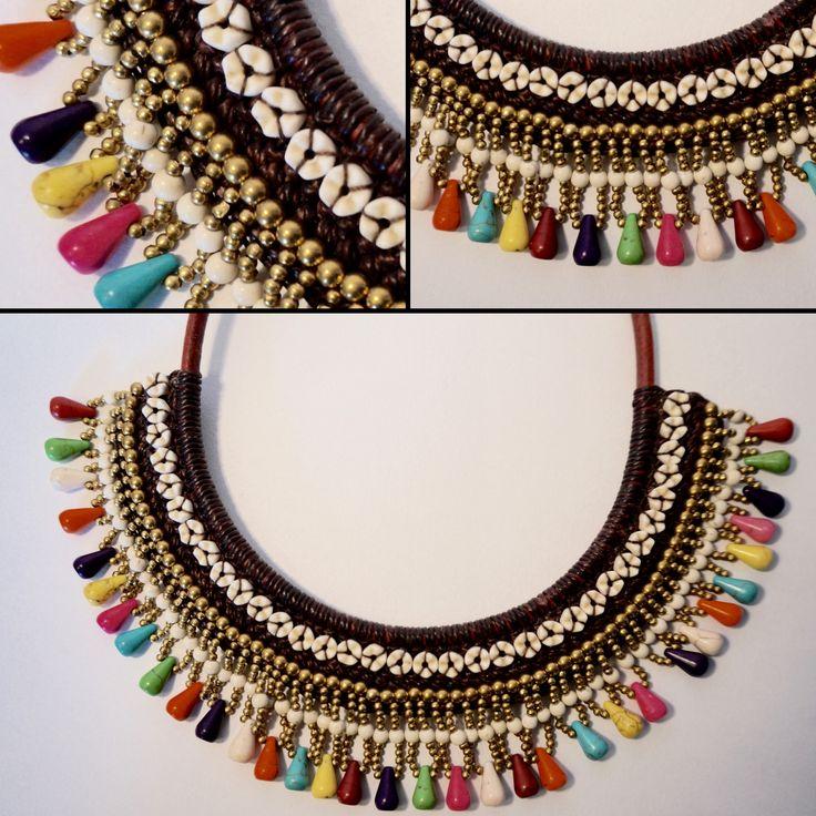 Collier-plastron ethnique composé de coton ciré marron, perles dorées et pierres multicolores.  https://www.etsy.com/listing/230701991/collier-arc-en-ciel-tisse-a-la-main?ref=shop_home_active_18