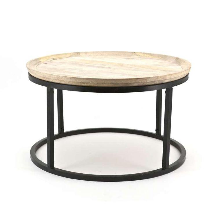 Bijzettafels, salontafel en woonaccessoires Ambiente van By-Boo, geven ieder interieur  meer sfeer! Vervaardigd uit authentieke materialen met een vintage karakter. Ieder meubel is uniek. AMBIENTE 1550 table solo small wood, h 40 cm diam. 70 cm.