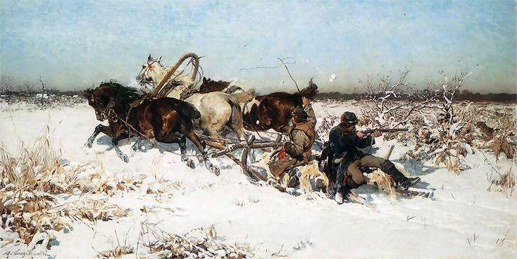 """Al.W.-Kowalski  """"Zaatakowani przez wilki"""".Ok. 1880"""
