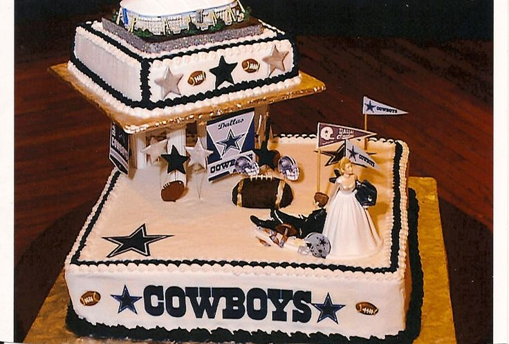 Dallas Cowboys Grooms Cake - Dallas Cowboys Grooms Cake made for my son. The Bride is supposed to be dragging her groom away from the game to the wedding! The top of the cake is an authentic numbered collector's replica of The Old Texas Stadium