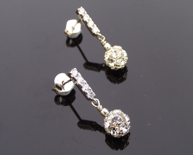Silver Crystal Encrusted Drop Earrings, Marseille | The Wedding Hair Accessory and Bridal Jewellery Experts.