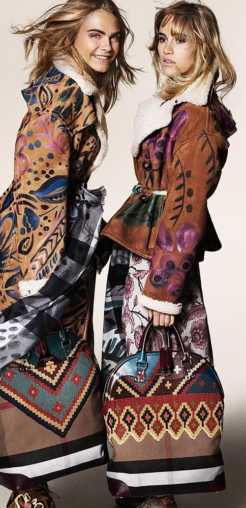 The Burberry Autumn/Winter 2014 campaign featuring hand-painted ready-to-wear and accessories, starring Cara Delevingne and Suki Waterhouse