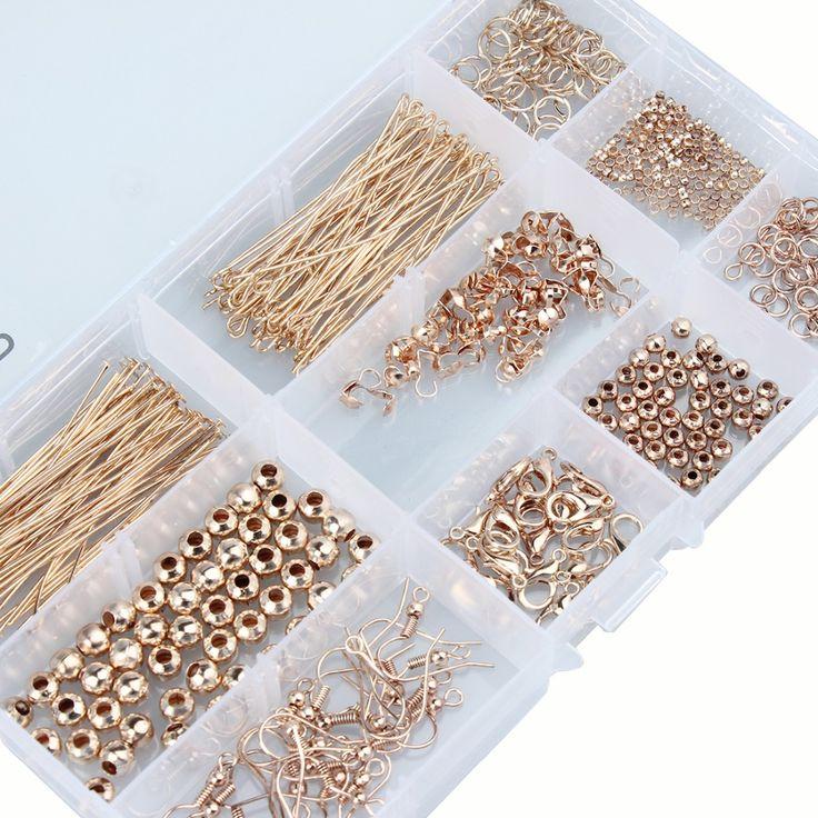 1 kutu Takı Bulgular Aksesuarları Kiti Kutusu Ayarları Boncuklu Pins Sıkıştırma Toka Set DIY Aracı Moda Takı Yapımı El Sanatları