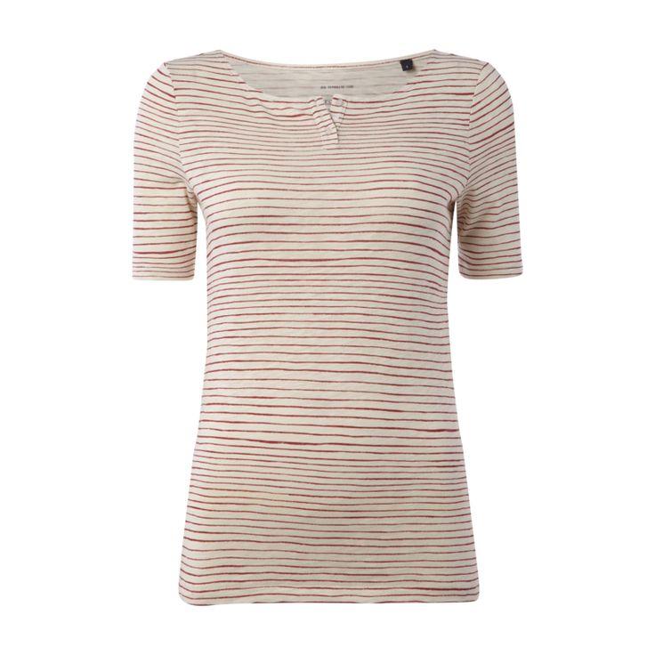 Marc O´Polo Serafino-Shirt mit Streifenmuster für Damen - Damen Serafino-Shirt von Marc O´Polo, Reine Baumwolle, Slub Jersey, Leicht taillierter Schnitt, Rundhalsausschnitt, 1/2-Arm, Kurze Knopfleiste, Streifenmuster, Rückenlänge bei Größe S: 62 cm