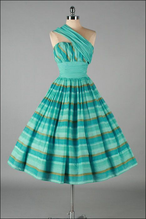Vintage 1950s Dress  Aqua Stripe  Shoulder by millstreetvintage, $325.00