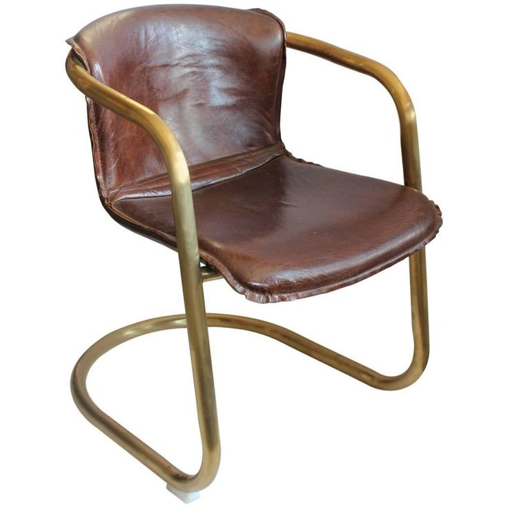 Stylish Midcentury Brass and Leather Side or Desk Chair | From a unique collection of antique and modern office chairs and desk chairs at https://www.1stdibs.com/furniture/seating/office-chairs-desk-chairs/