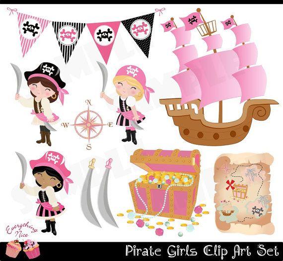 Chicas piratas Clip arte conjunto por 1EverythingNice en Etsy