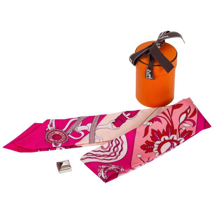 Hermès Hot Pink Flower Twilly Bracelet Scarf