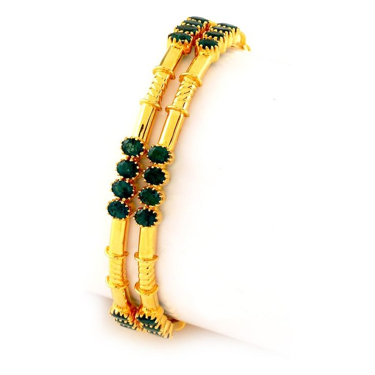 Emerald | | GRT Jewellers|| Enthralling Green Emerald Bangles