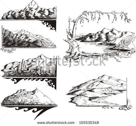 Mountain sketches. Set of black and white vector illustrations. - stock vector