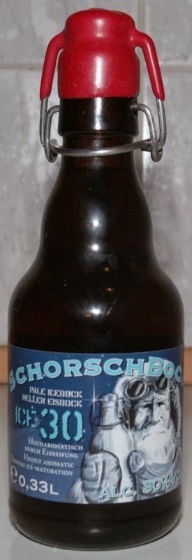 Cerveja Schorschbock Ice30%, estilo Eisbock, produzida por Schorschbräu, Alemanha. 30% ABV de álcool.