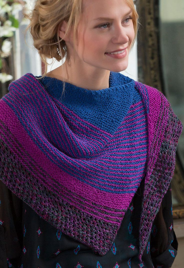 Free knitting pattern for easy Modern Stripe Shawl - Julie Farmer designed th...