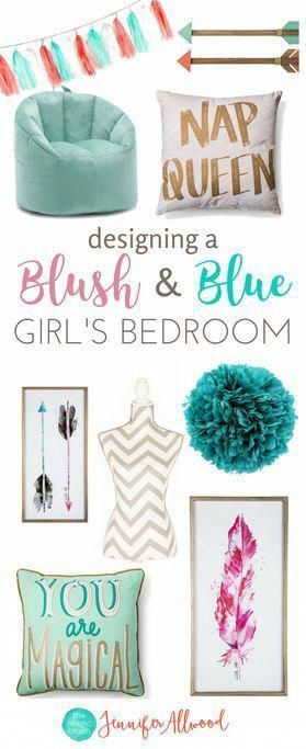 Ava's new Blush & Blue Girls Bedroom + Loft Bed