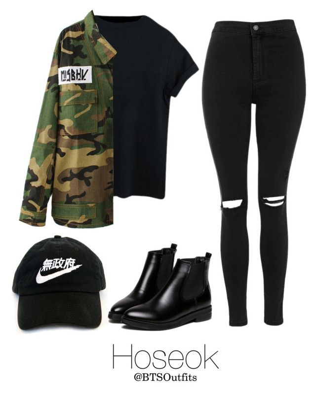 Fire MV: Hoseok by btsoutfits on Polyvore featuring polyvore, fashion, style, Escalier, Topshop, WithChic and clothing