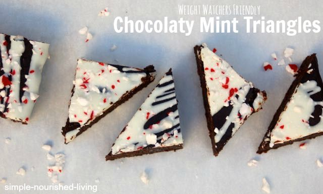 Weight Watchers Chocolaty Candy Cane Triangles. Easy. Healthy. Super Dense and Delicious. Made with Black Beans! Just 70 calories and 2 Points Plus. http://simple-nourished-living.com/2014/12/weight-watchers-chocolate-mint-bars/