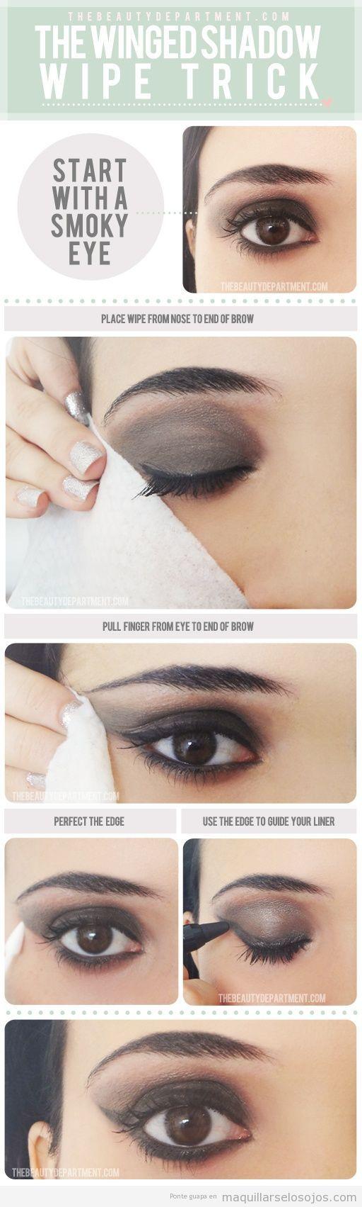 Maquillaje de ojos con sombra efecto alado, un truco estupendo!   Maquillarse los ojos   Todo para aprender cómo maquillarse los ojos