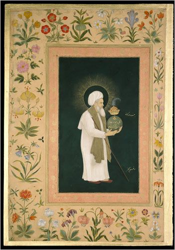 """""""Mu'in al-Din Chishti Holding a Globe"""" from the Minto album. Painting by Bichitr and calligraphy by Mir'Ali."""